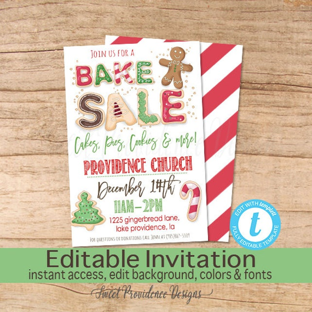 Christmas Bake Sale Flyer Bake Sale Flyer Cookies holiday | Etsy