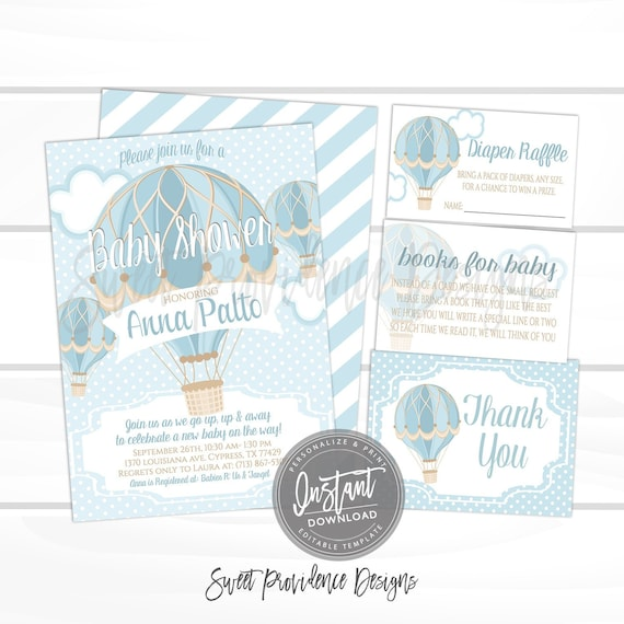 Baby Shower Invitations For Boys Design The Best For The Special Hot Air Balloon baby shower invitation, Blue Hot Air Balloon Invitation  Kit, Boy Baby Shower Invitation, , EDITABLE Instant Download