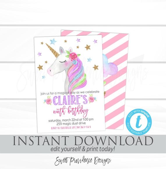 Unicorn Invitations Unicorn Birthday Invitation Editable Girl