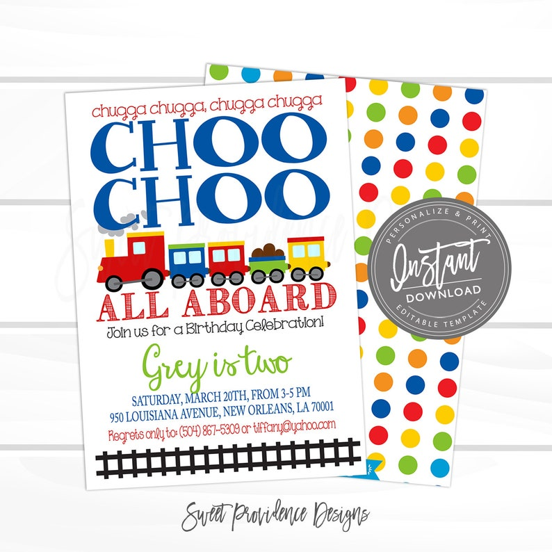 Choo Train Birthday Invitation Boys