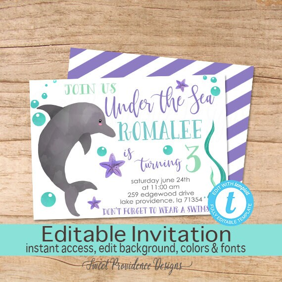 Dolphin Birthday Invitation Under The Sea Girl