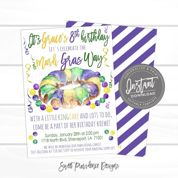 Mardi Gras King Cake Invitation Mardi Gras Celebration Editable