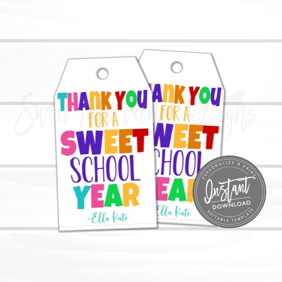 Teacher Appreciation Sweet Gift Tag Thank You Sweet Year Etsy