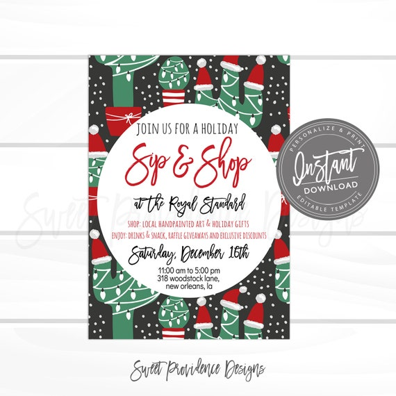 Christmas Giveaway Flyer.Christmas Flyer Editable Cactus Sip Shop Holiday Boutique