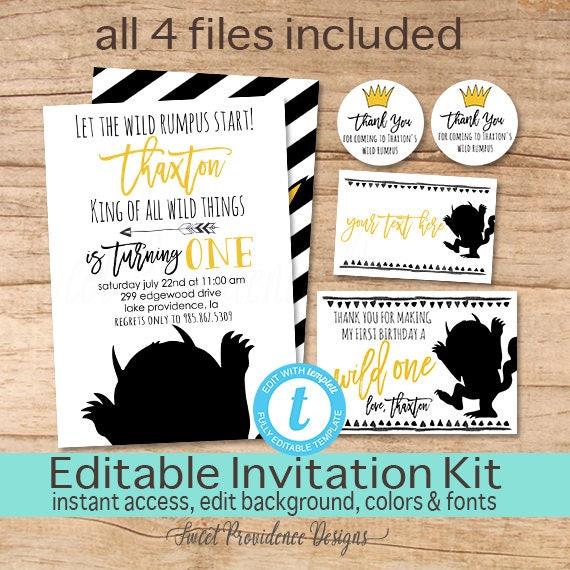 Wild One Birthday Invitation Party Pack Invite Editable