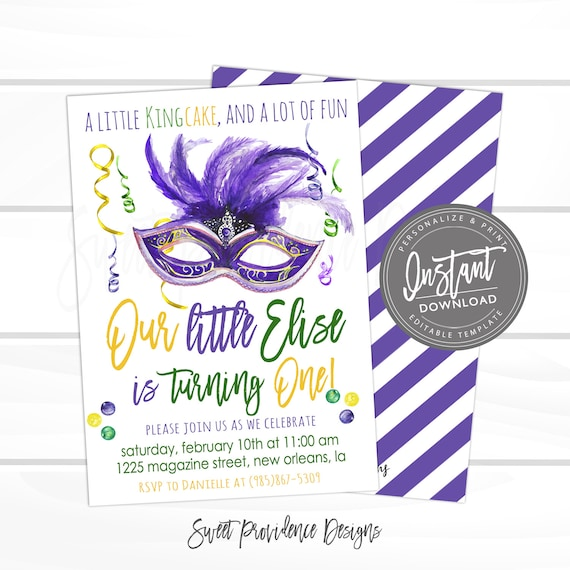 Mardi Gras Birthday Invitation, first birthday, Editable Birthday template, King Cake Party, Fat Tuesday Carnival Printable Instant Download