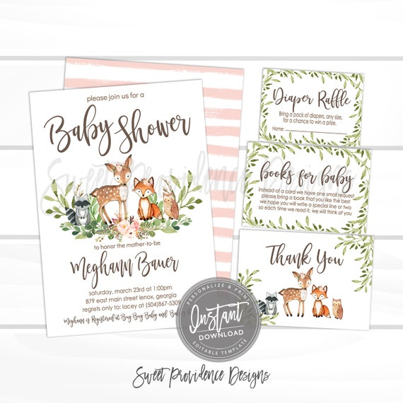 Floral Woodland Animal Invitation Baby Shower Kit