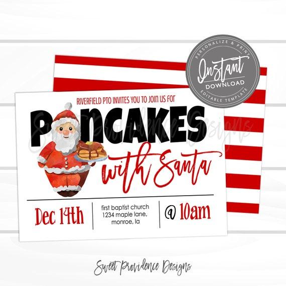 pancakes with santa flyer school or church function christmas pto
