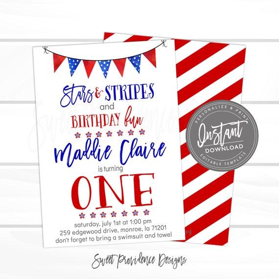 4th Of July Invitation Firecracker Fourth Stars Stripe First Birthday Editable Invite Template Instant Access