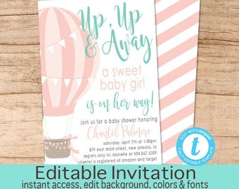 Balloon Baby Shower Invitation, Hot air balloon invitation, Pink MINT Balloon Invitation, Balloon Invitation, EDITABLE Instant Download