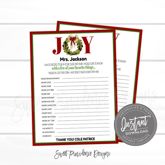 photo relating to Teacher Favorite Things Questionnaire Printable identified as EDITABLE Trainer Study, Printable Xmas Instructors