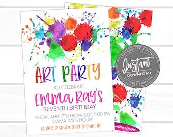Art Party Birthday Invitation, Art Party invitation, Paint Seventh Virtual Birthday Invitation Editable Birthday Invitation, Instant Access