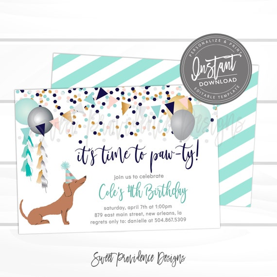 Puppy Dog Birthday Invitation Time To Paw Ty Invitation