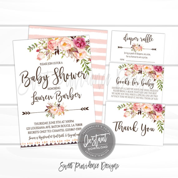Baby Shower Invitation Kit Boho Floral Invitation Set Editable