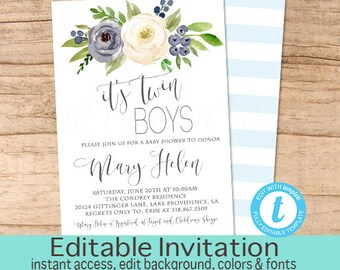 Twins Baby Shower Invitation, Blue Floral Watercolor Baby Shower invite, It's Twins Watercolor Floral Invitation, EDITABLE Instant Download