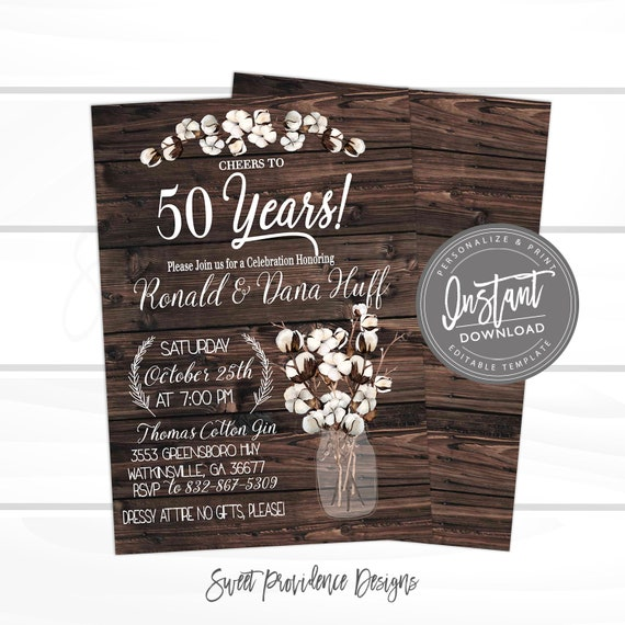 50th Anniversary Invitation Anniversary Party Invitation Rustic