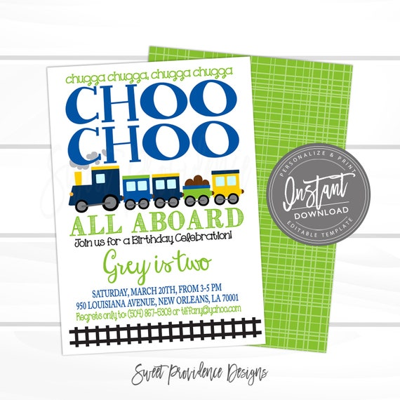 Choo Train Birthday Invitation Boys Editable Instant Download
