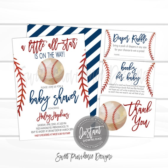 picture relating to Free Printable Baseball Baby Shower Invitations called Baseball Boy or girl Shower Invitation Package, Minimal All Star Shower