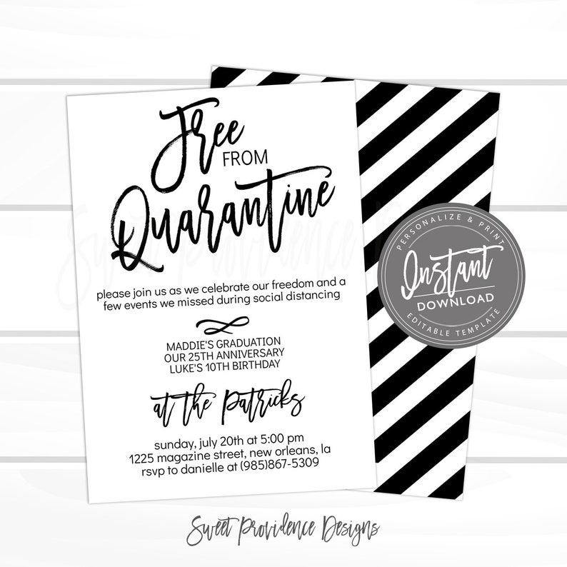 End of Quarantine Party Invitation Birthday Graduation Editable Digital Printable Instant Access Edit Everything We Missed Freedom Party