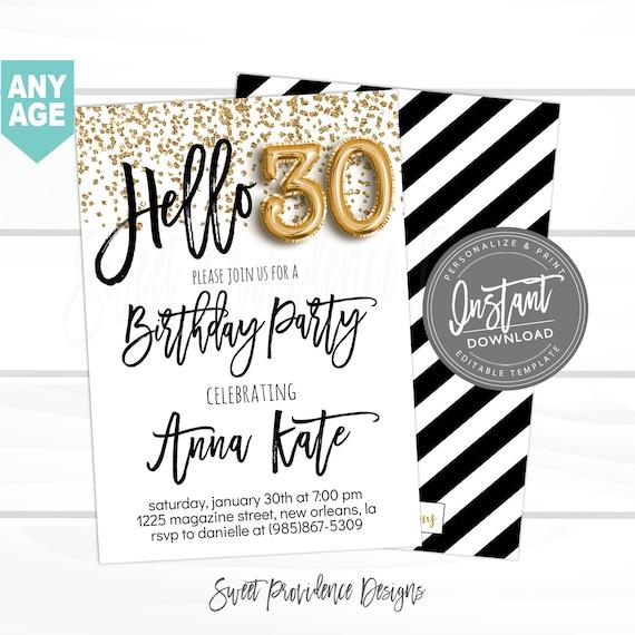 30th Birthday Invitation Editable