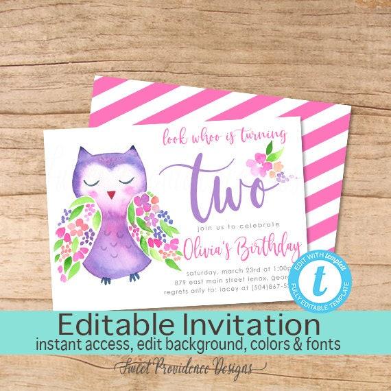 Owl Birthday Invitation Woodland Animal Invitation Editable