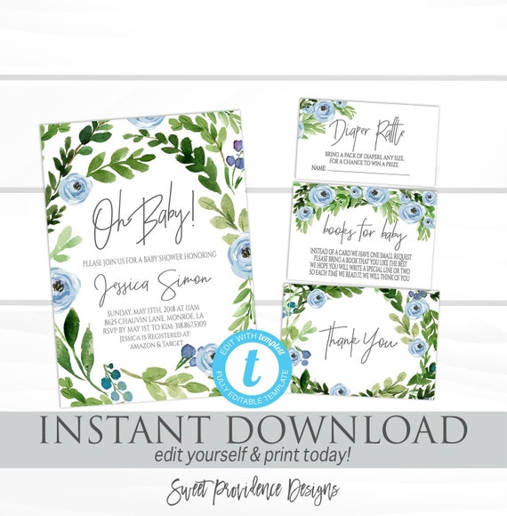 Baby Boy Shower Invitation Template Blue Floral Wreath Baby Shower