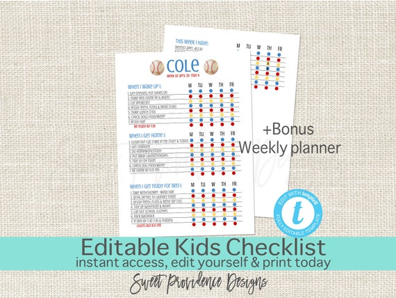 editable kids checklist daily task list customizable chore etsy