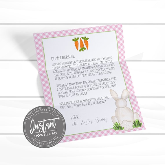 graphic regarding Letter From Easter Bunny Printable identified as EDITABLE Easter Bunny Letter, Easter Printable Stationery