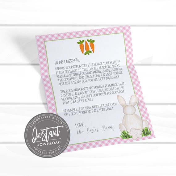 graphic relating to Letter From Easter Bunny Printable identify EDITABLE Easter Bunny Letter, Easter Printable Stationery
