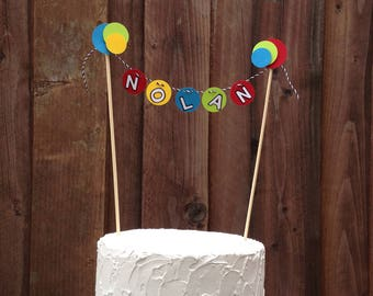 Bouncy Ball Party Cake Topper, Mini Cake Banner Bunting, Birthday Cake Topper