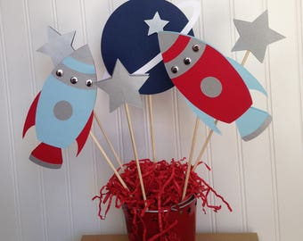 Rocket Ship Space Theme Astronaut Birthday Party Centerpiece set in light blue, red and silver
