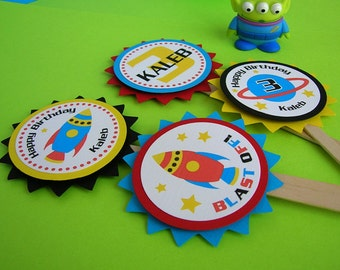 Rocket Ship Space Theme Birthday Cupcake Toppers (set of 12)