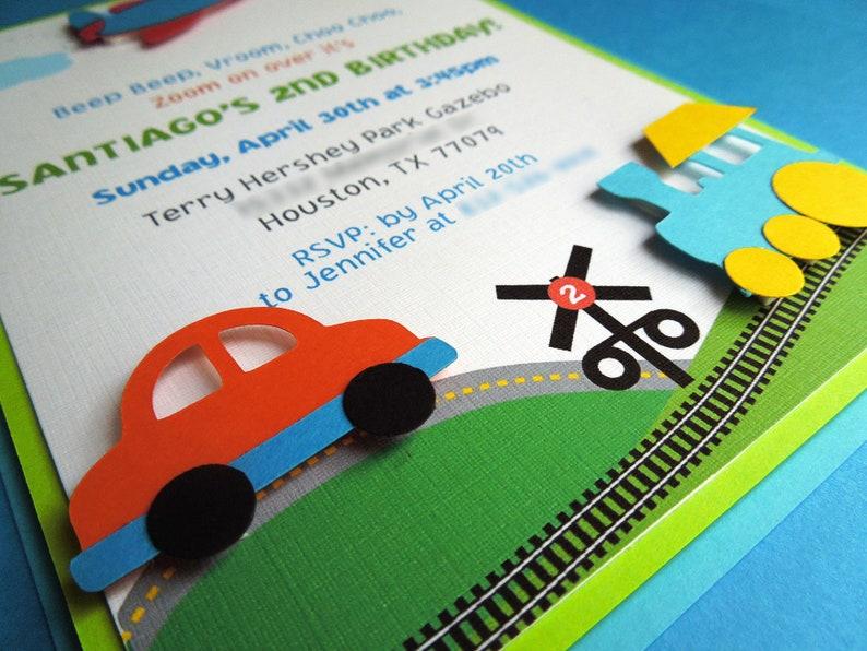 Transportation Birthday Invitation Planes trains and automobiles invitation