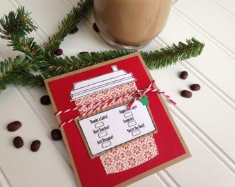 Christmas Gift Card Holder, Starbucks Coffee Gift Card Holder, Coffee Gift Card Holder