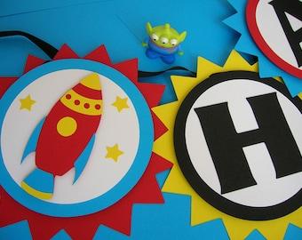 Rocket Ship Space Theme Birthday Banner
