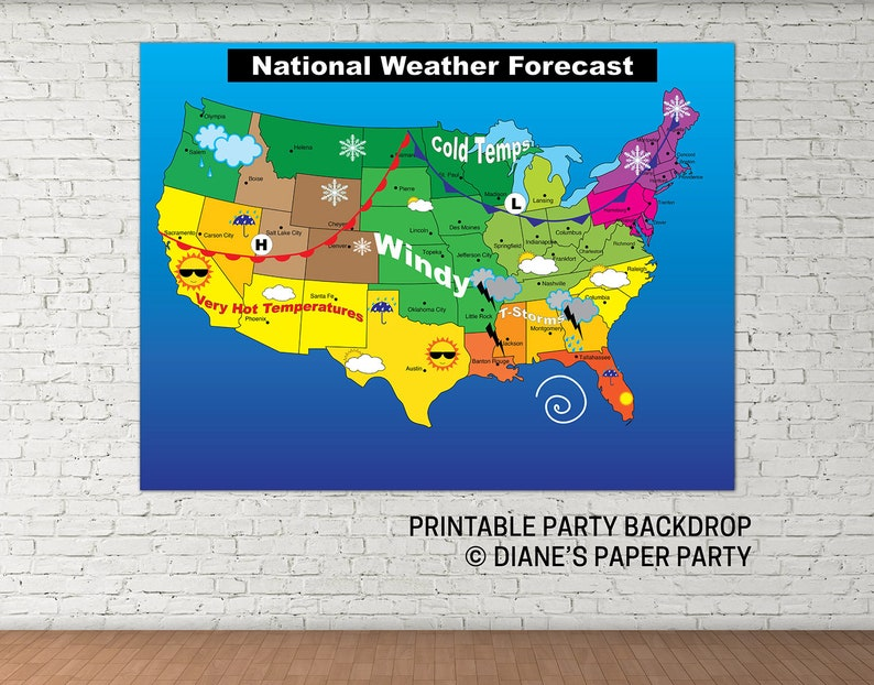 Instant Weather Map Printable Weather Map Instant Download Printable Weather Map | Etsy