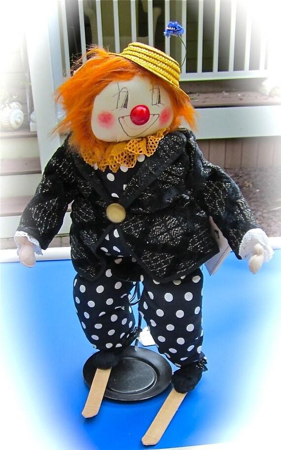 SUPER SALE....Clown On Skis Vintage