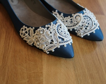 c6698938c196 French Pleat Bridal Ballet Flats Wedding Shoes - Any Size - Pick your own  shoe color and crystal color
