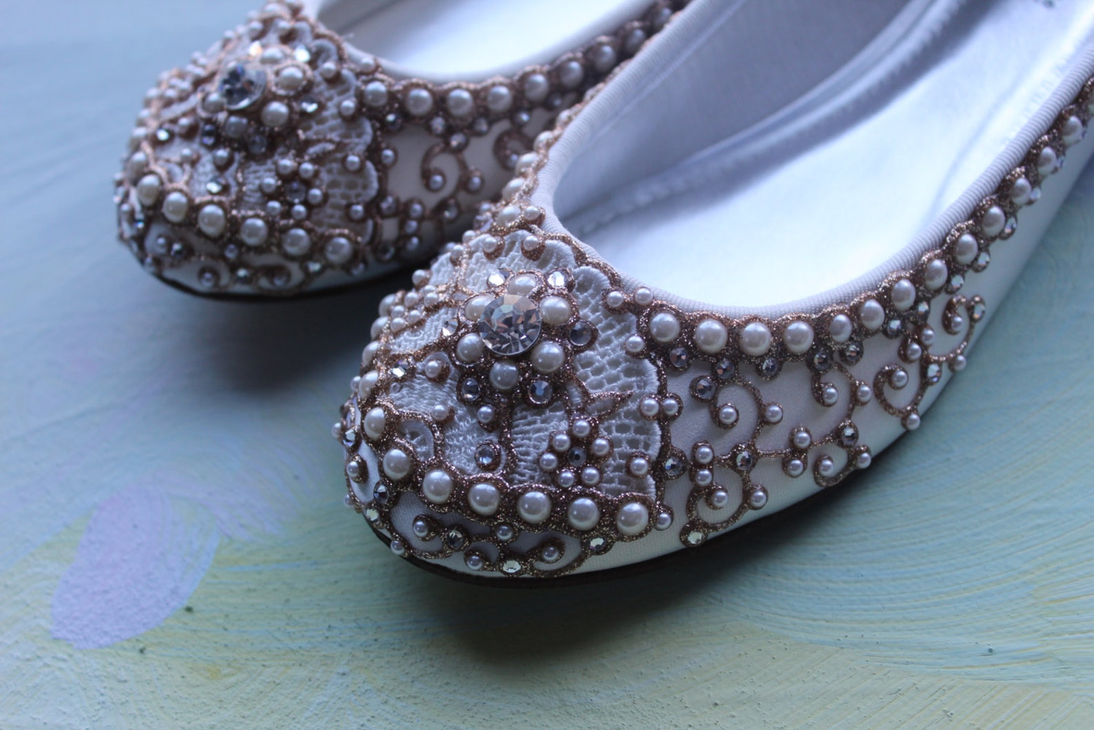 golden vines bridal ballet flats wedding shoes - any size - pick your own shoe color and crystal color