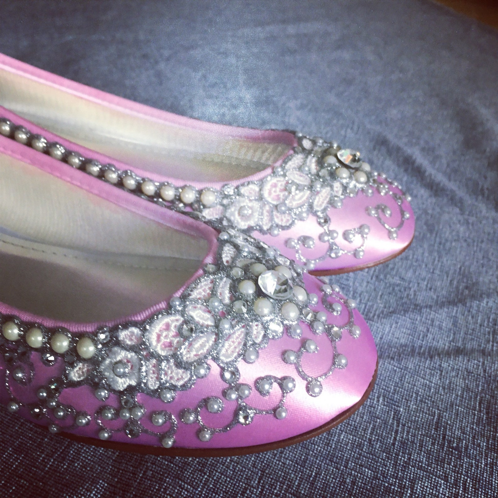 sale - size 8 candy pink satin cinderella ballet flats