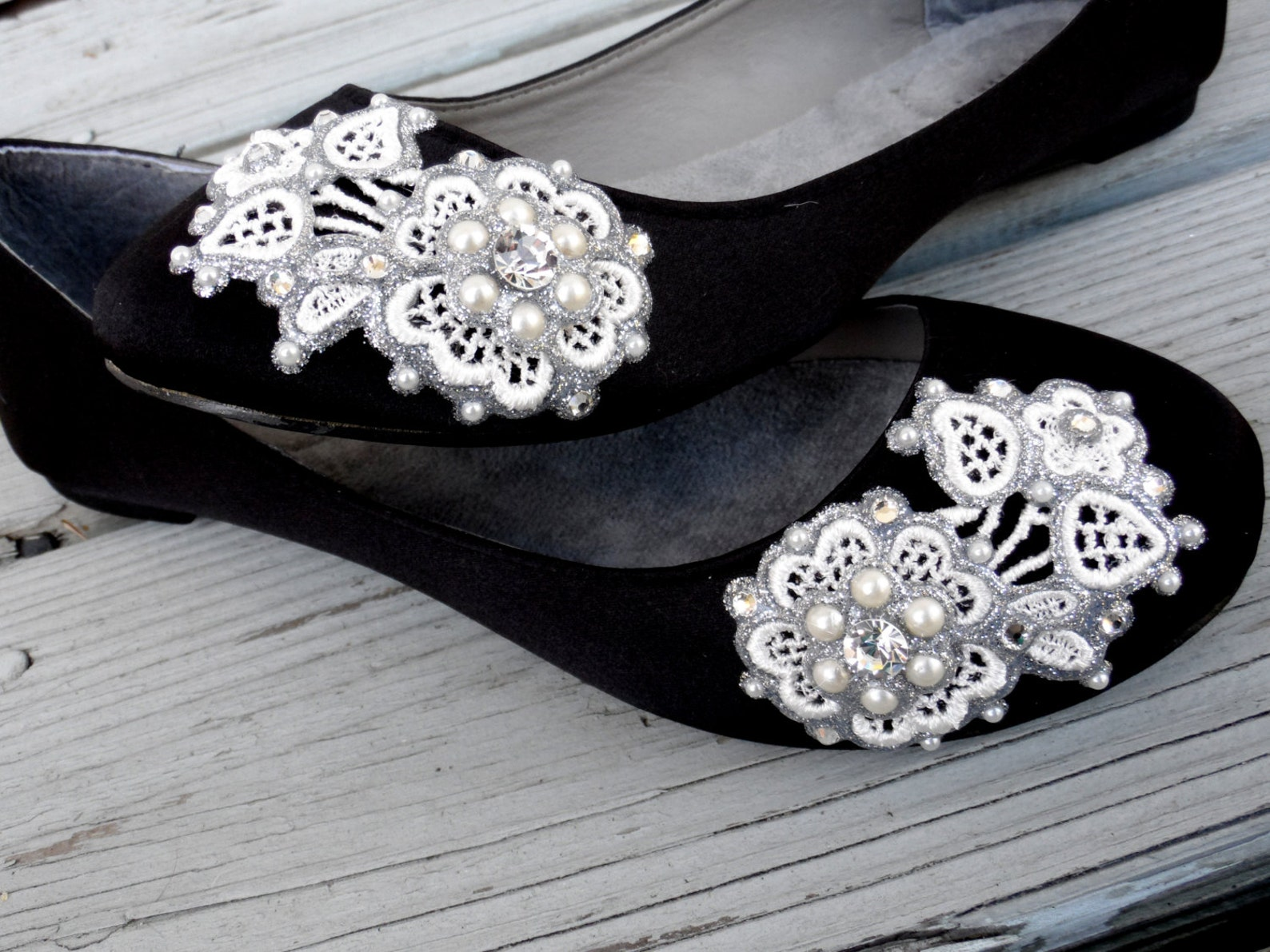 floral symmetry bridal ballet flats wedding shoes - all full sizes - pick your own shoe color and crystal color