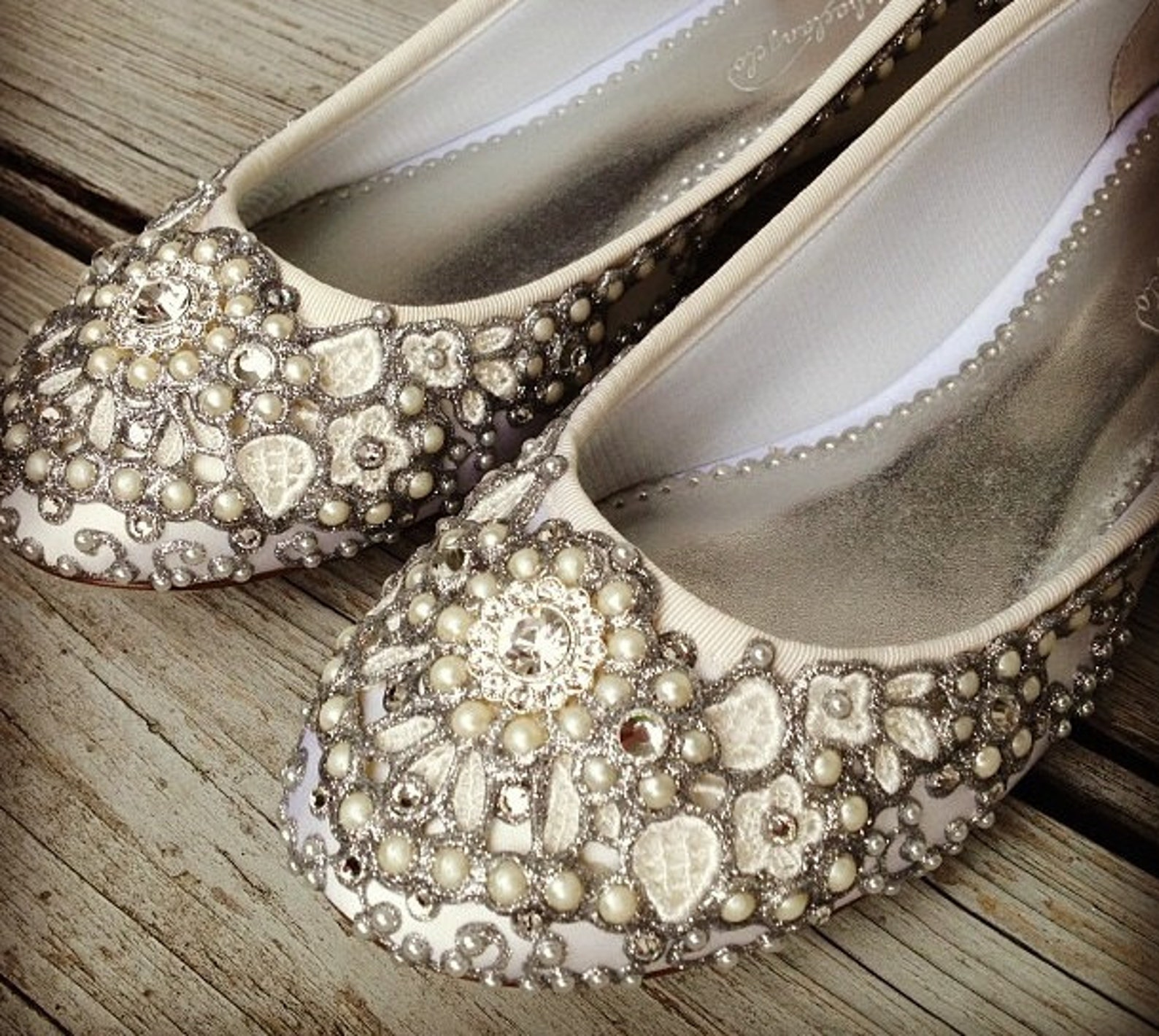 pearl vine bridal ballet flats wedding shoes - any size - pick your own shoe color and crystal color