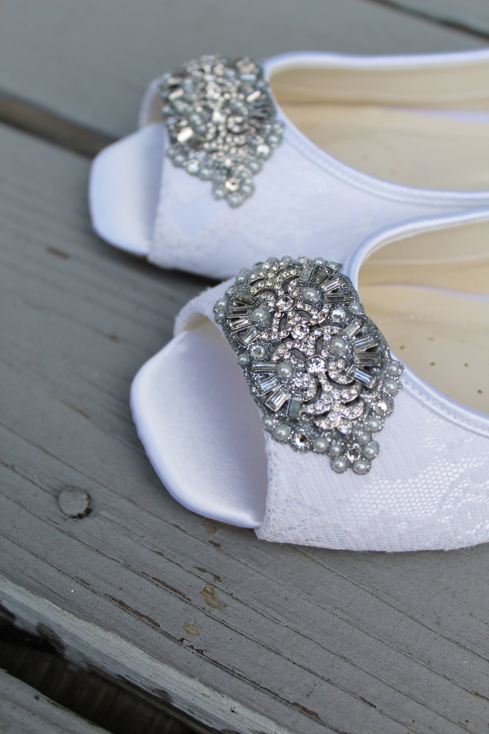 art deco bridal open toe ballet flats wedding shoes