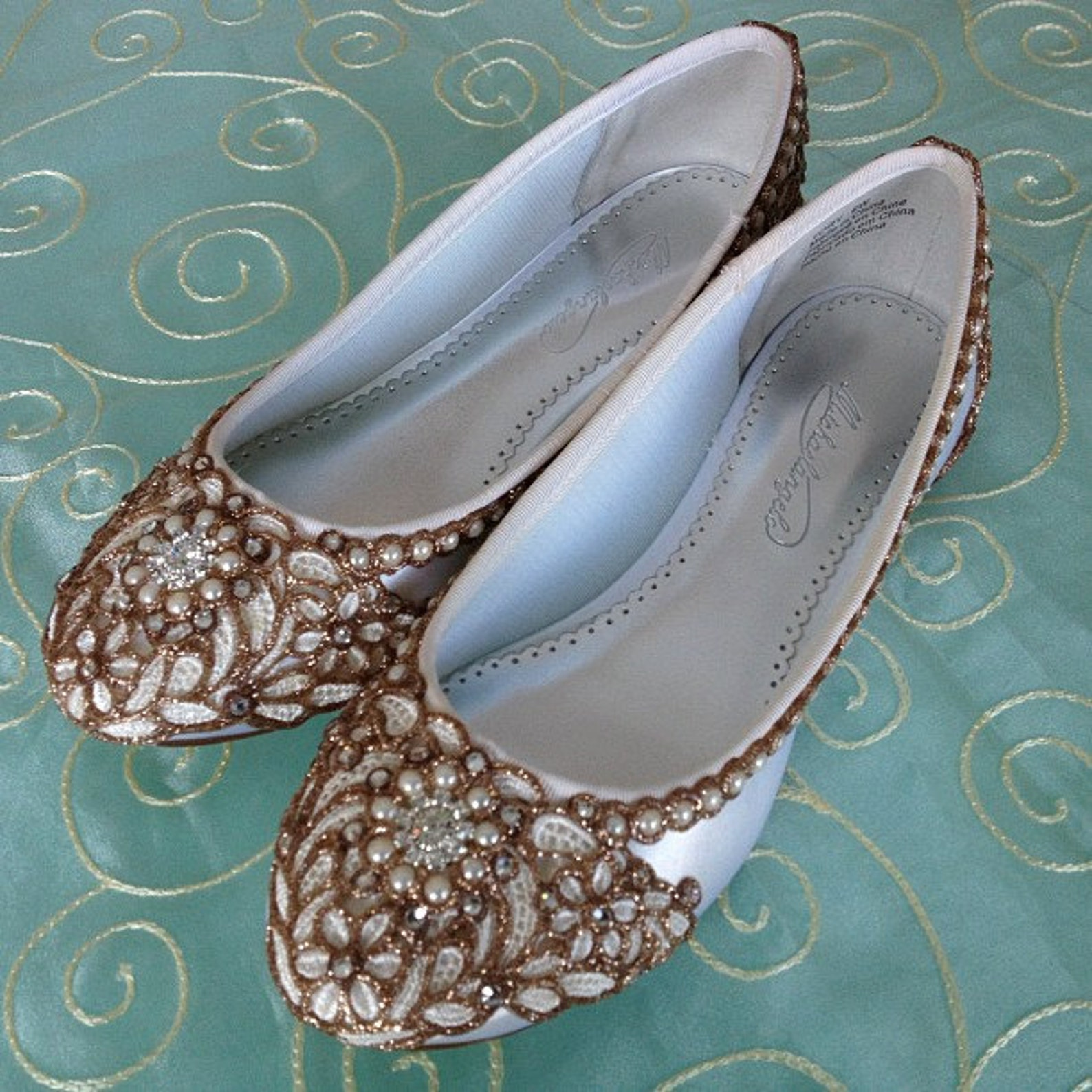 ivory petals bridal ballet flats- any size - pick your own shoe color and crystal color