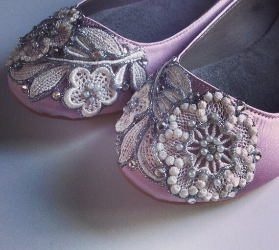33b5750af057 French Knot Lace Bridal Ballet Flats Wedding Shoes All Full