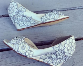 Wedding Shoes - Secret Garden Peep Toe Wedge - Lace, Crystal and Pearls - Ivory/White/Custom Colors