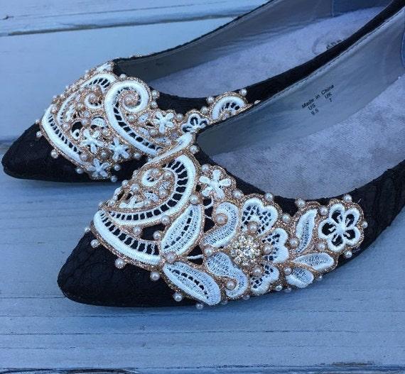 12b4023b3aaf SALE size 9 Black French Pleat Bridal Ballet Flats