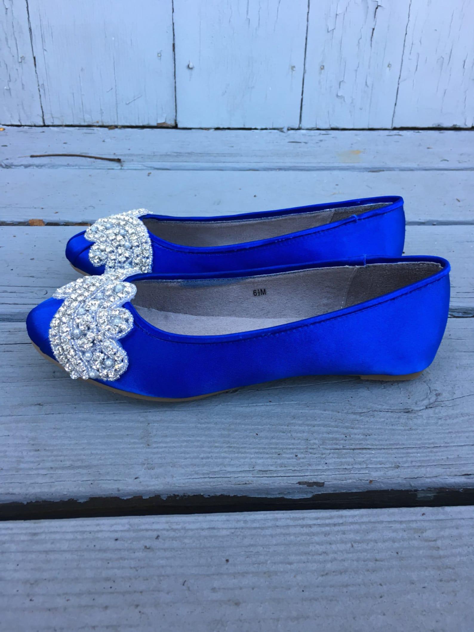 sale - size 6.5 sapphire silver wave bridal ballet flats