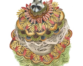 "Quilted Forest: The Raccoon // 8""x10"" Art Print - Forest Illustration"