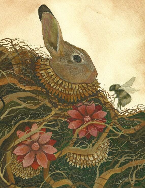 El conejo y la abeja / / 5 x 7 bosque del arte   Etsy